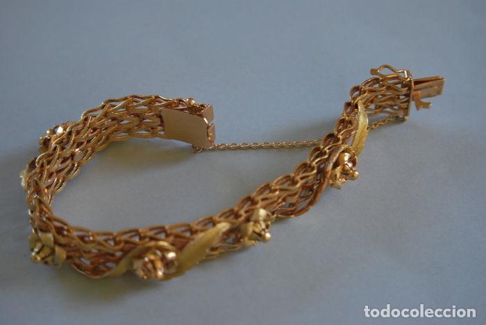 Joyeria: Exclusiva pulsera de oro de 18 Kt. con decoraciones florales - Foto 13 - 210944880