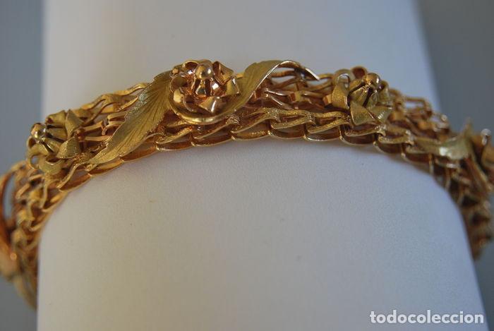 Joyeria: Exclusiva pulsera de oro de 18 Kt. con decoraciones florales - Foto 14 - 210944880