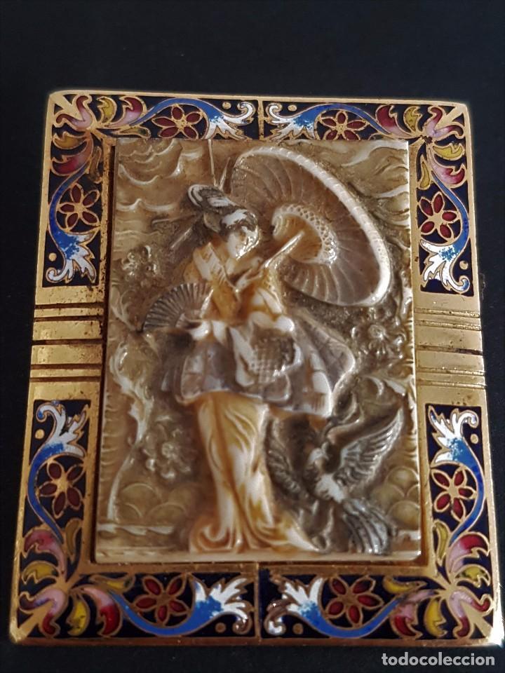 Joyeria: Precioso Antiguo Broche Oriental de Marfil y Esmalte al fuego - Foto 2 - 84736400