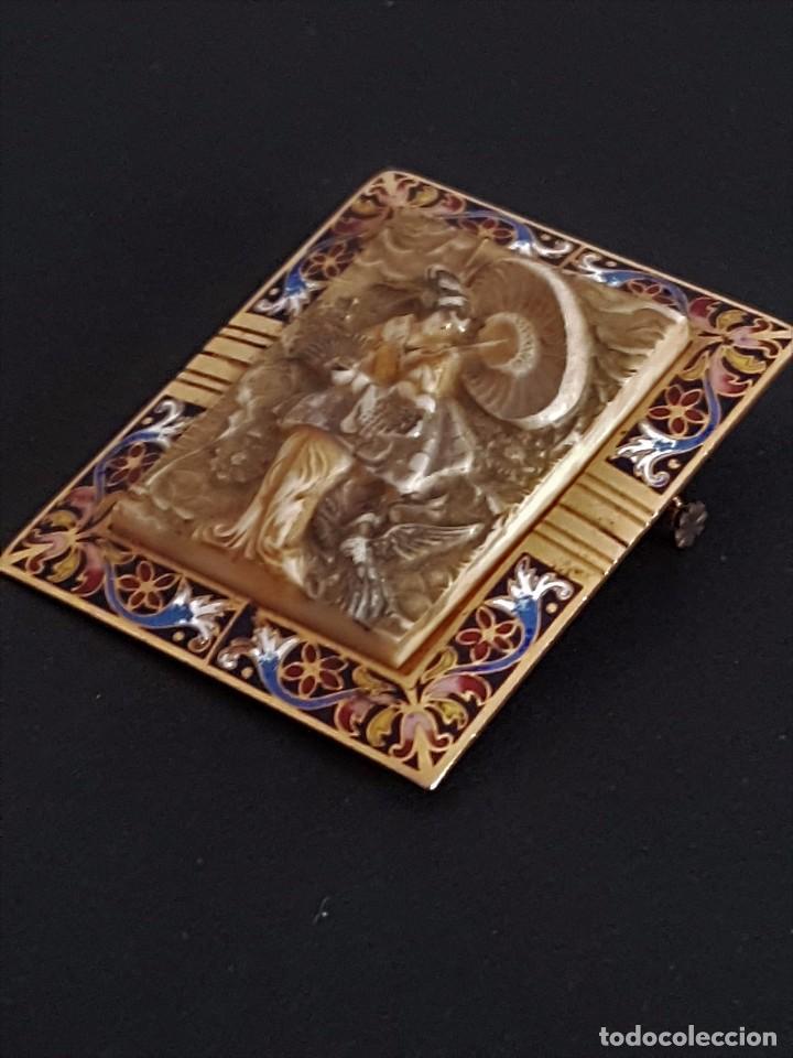 Joyeria: Precioso Antiguo Broche Oriental de Marfil y Esmalte al fuego - Foto 3 - 84736400