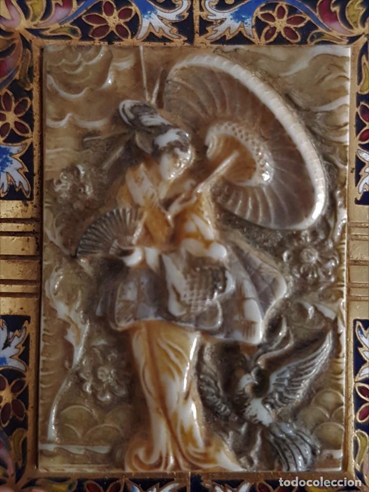 Joyeria: Precioso Antiguo Broche Oriental de Marfil y Esmalte al fuego - Foto 6 - 84736400