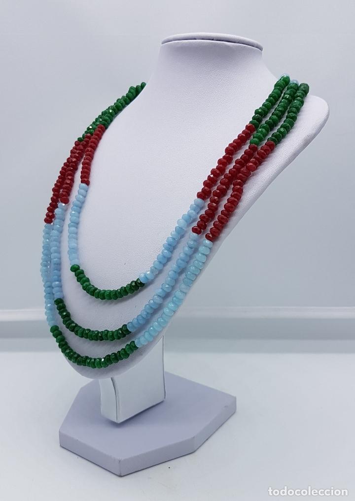 Joyeria: Magnífica gargantilla de esmeraldas, rubies y aguamarinas naturales facetadas, y perla barroca . - Foto 2 - 84831604
