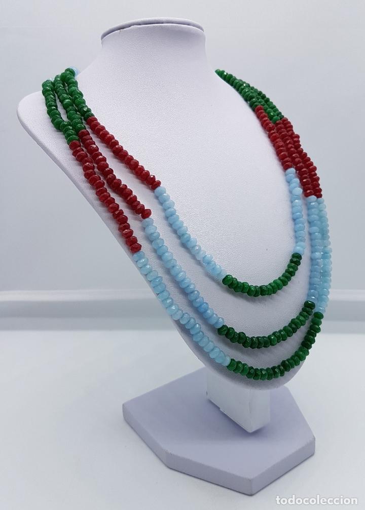 Joyeria: Magnífica gargantilla de esmeraldas, rubies y aguamarinas naturales facetadas, y perla barroca . - Foto 3 - 84831604