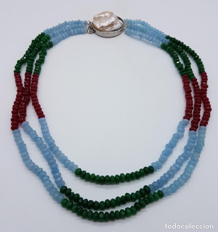 Joyeria: Magnífica gargantilla de esmeraldas, rubies y aguamarinas naturales facetadas, y perla barroca . - Foto 5 - 84831604