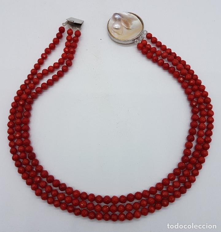 Joyeria: Magnífica gargantilla antigua tres vueltas en coral rojo facetado y perla cultivada en el cierre . - Foto 4 - 84833312