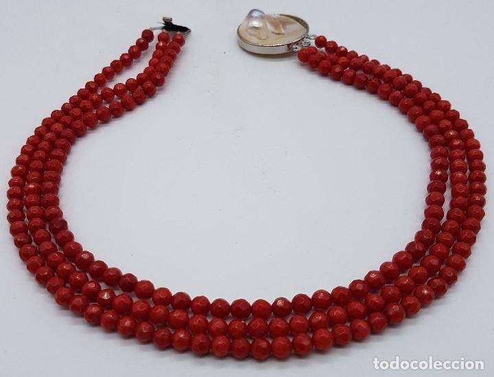 Joyeria: Magnífica gargantilla antigua tres vueltas en coral rojo facetado y perla cultivada en el cierre . - Foto 5 - 84833312