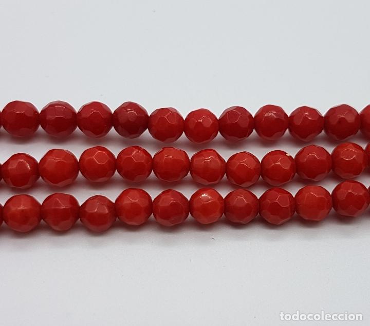 Joyeria: Magnífica gargantilla antigua tres vueltas en coral rojo facetado y perla cultivada en el cierre . - Foto 7 - 84833312