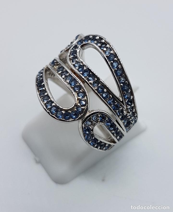 Joyeria: Magnífico anillo antiguo en plata de ley contrastada y pavé de topacios azul celeste talla brillante - Foto 2 - 85173028