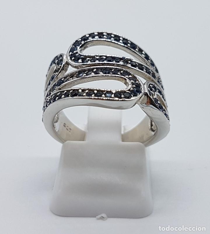 Joyeria: Magnífico anillo antiguo en plata de ley contrastada y pavé de topacios azul celeste talla brillante - Foto 3 - 85173028