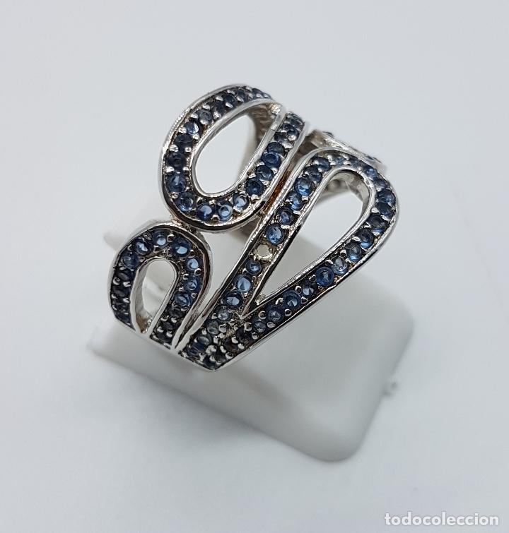 Joyeria: Magnífico anillo antiguo en plata de ley contrastada y pavé de topacios azul celeste talla brillante - Foto 4 - 85173028