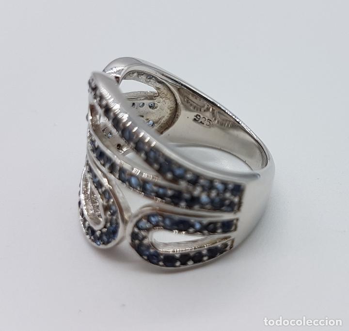 Joyeria: Magnífico anillo antiguo en plata de ley contrastada y pavé de topacios azul celeste talla brillante - Foto 5 - 85173028