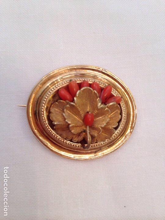 Joyeria: Pendientes y broche de coral y oro bajo del siglo XIX - Foto 6 - 86094602