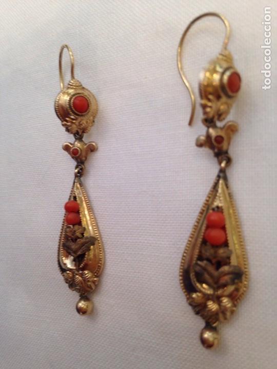 Joyeria: Pendientes y broche de coral y oro bajo del siglo XIX - Foto 10 - 86094602