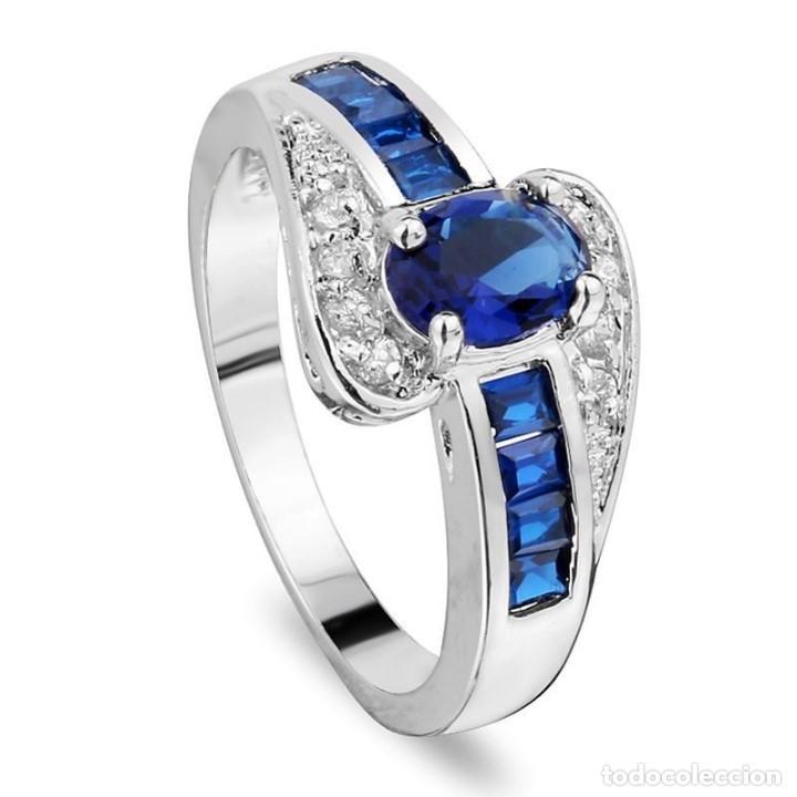b6b72efa23dd Bonito anillo plata 925 con zafiro central enga - Vendido en Subasta ...