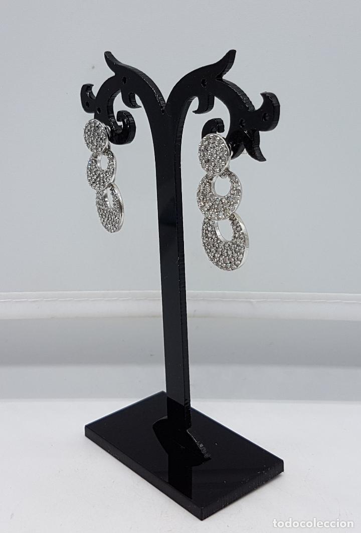 Joyeria: Magníficos pendientes vintage en plata de ley contrastada con pavé de circonitas talla diamante . - Foto 2 - 86874776