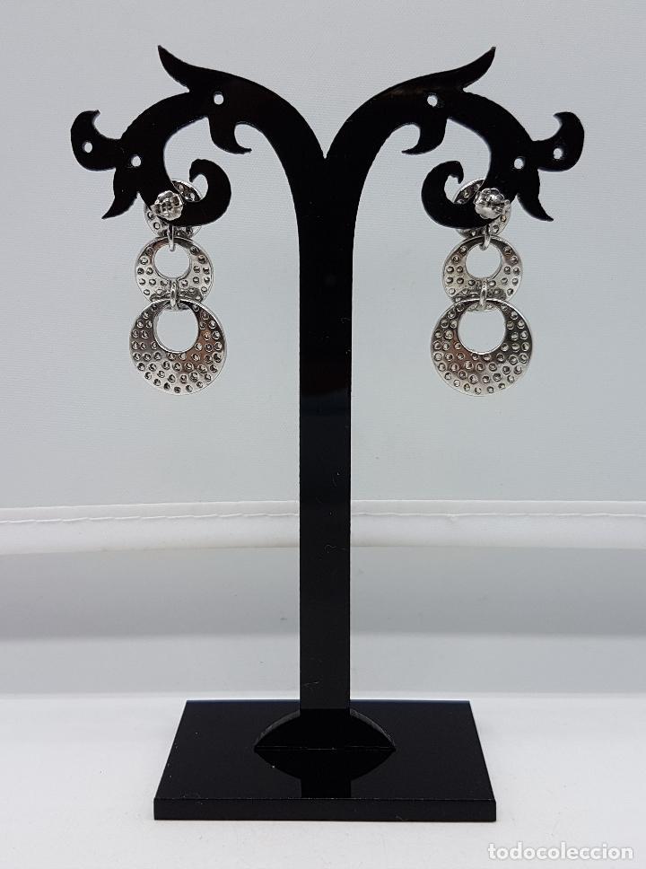 Joyeria: Magníficos pendientes vintage en plata de ley contrastada con pavé de circonitas talla diamante . - Foto 3 - 86874776