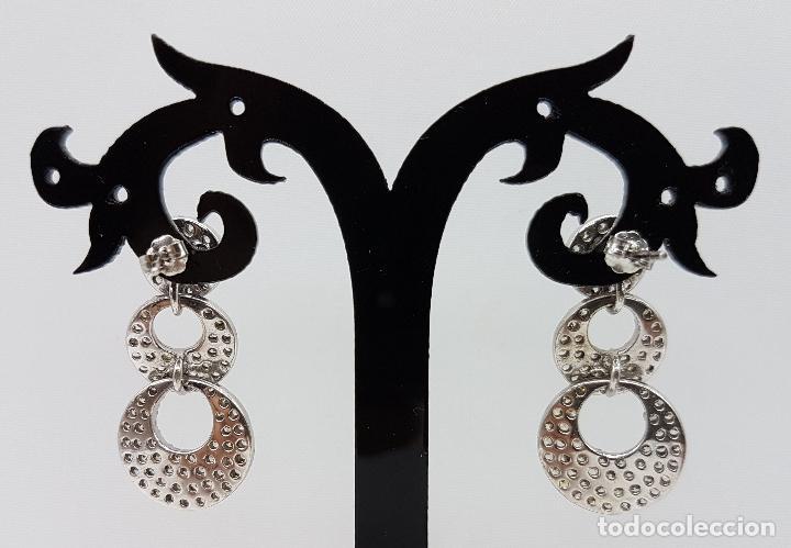 Joyeria: Magníficos pendientes vintage en plata de ley contrastada con pavé de circonitas talla diamante . - Foto 4 - 86874776