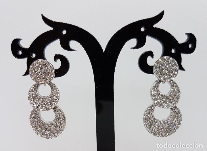 Joyeria: Magníficos pendientes vintage en plata de ley contrastada con pavé de circonitas talla diamante . - Foto 5 - 86874776