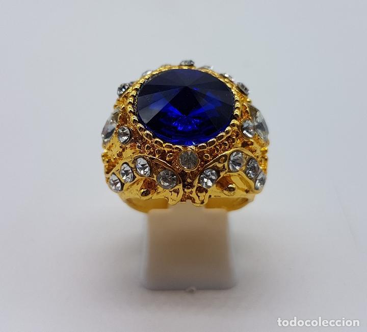Joyeria: Gran anillo tipo imperio laminado en oro de 14k, zafiro creado, circonitas talla marqués y brillante - Foto 2 - 174230129