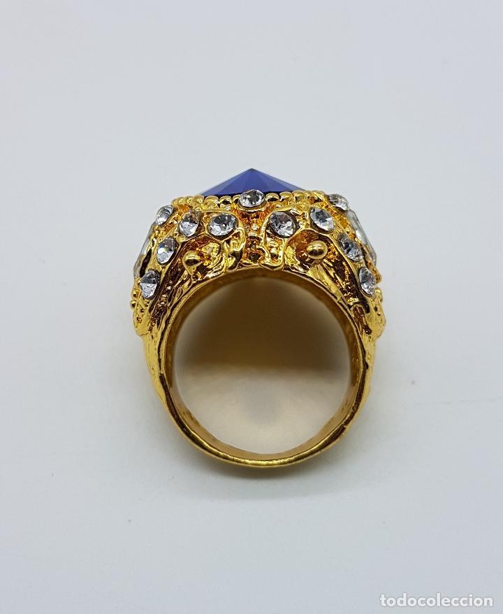 Joyeria: Gran anillo tipo imperio laminado en oro de 14k, zafiro creado, circonitas talla marqués y brillante - Foto 4 - 174230129