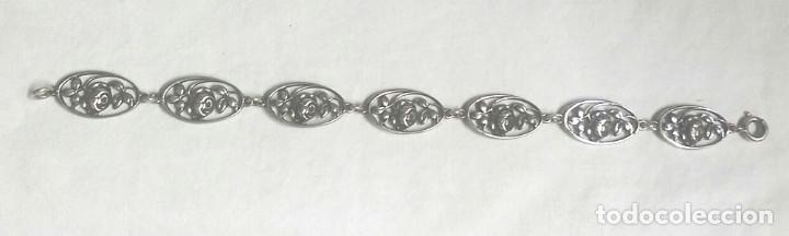 Joyeria: Brazalete plata de ley época Modernista, rosas, buen estado. Med. 19,50 cm - Foto 2 - 87206632