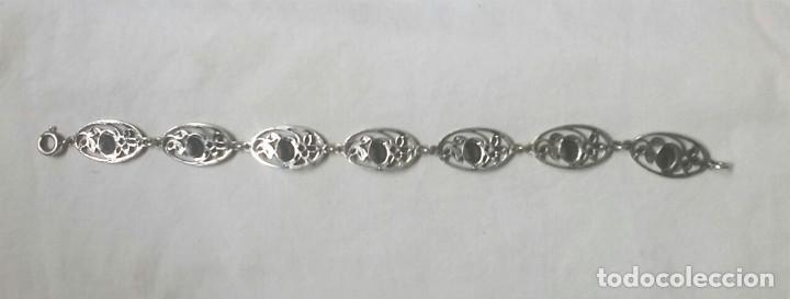 Joyeria: Brazalete plata de ley época Modernista, rosas, buen estado. Med. 19,50 cm - Foto 3 - 87206632