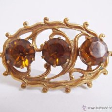 Joyeria: ANTIGUO BROCHE DE FILIGRANA Y CRISTAL COLOR AMBAR PERFECTO ESTADO. Lote 87538124
