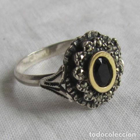 6ad06859ac4b Antiguo anillo plata 925 con marcasitas y onix - Vendido en Venta ...