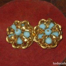 Joalheria: ART-DECO PENDIENTES CON BOLAS DE OPALINA AZUL FACETADAS. Lote 87882812