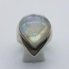 Jewelry - Impresionante anillo antiguo en plata de ley contrastada con cabujón piedra de luna talla lagrima . - 134124951
