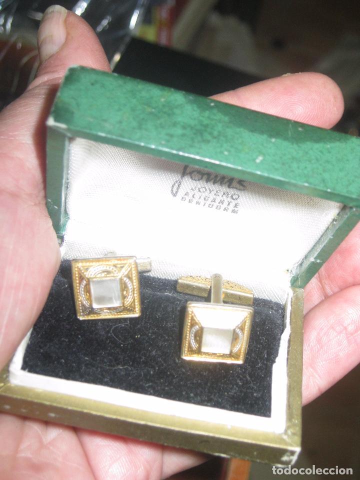 Joyeria: antiguos gemelos dorados con nacar estilo modernista - Foto 3 - 89249480