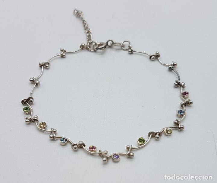 Joyeria: Bella pulsera vintage en plata de ley contrastada, con piedras semipreciosas talla brillante . - Foto 2 - 89453976