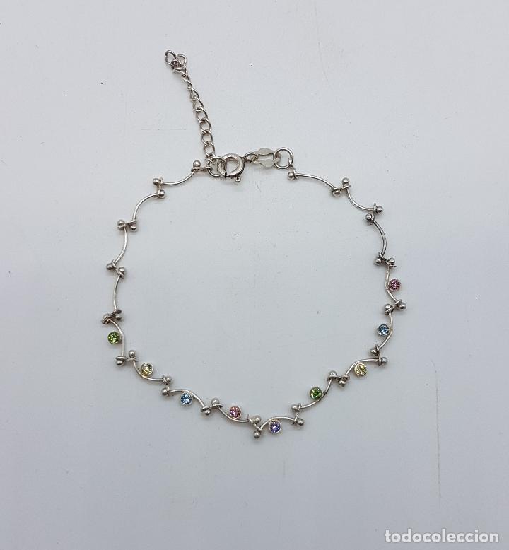 Joyeria: Bella pulsera vintage en plata de ley contrastada, con piedras semipreciosas talla brillante . - Foto 3 - 89453976