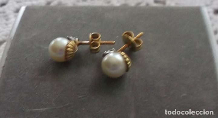Joyeria: pendientes de oro perlas y brillantes (dormilones) - Foto 2 - 89609652