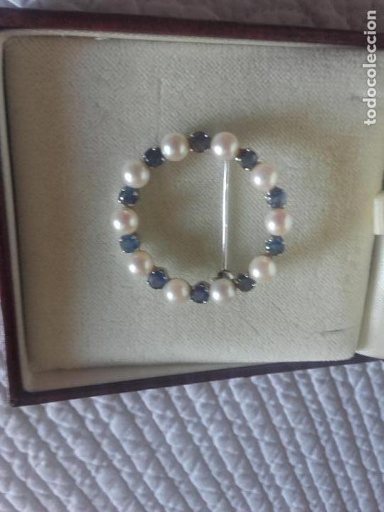 Joyeria: Broche perlas zafiros y oro blanco - Foto 2 - 89631060