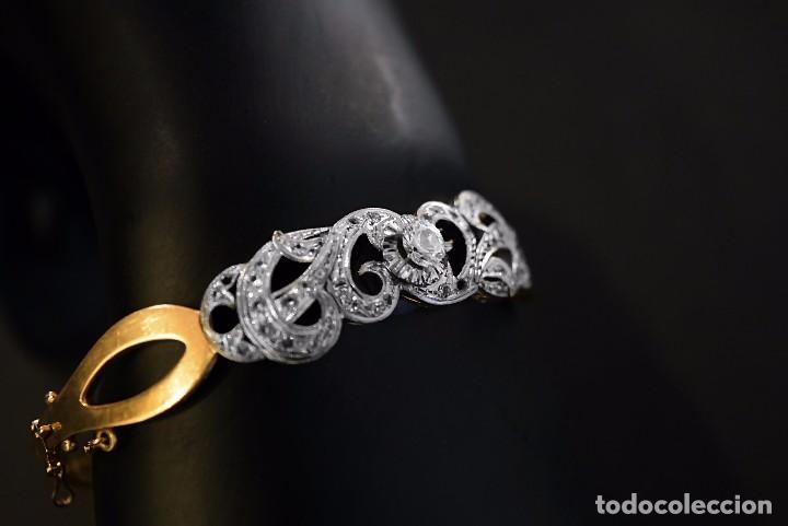 Joyeria: LIQUIDACION, Brazalete estilo modernista de Diamantes 0,20ct VS-H y zafiros en oro 18k - Foto 2 - 120425975