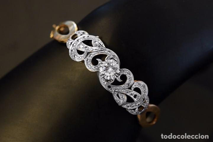 Joyeria: LIQUIDACION, Brazalete estilo modernista de Diamantes 0,20ct VS-H y zafiros en oro 18k - Foto 3 - 120425975