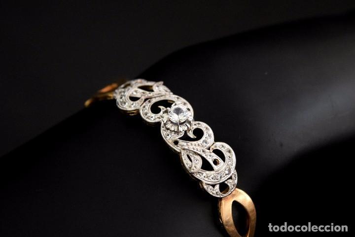 Joyeria: LIQUIDACION, Brazalete estilo modernista de Diamantes 0,20ct VS-H y zafiros en oro 18k - Foto 4 - 120425975