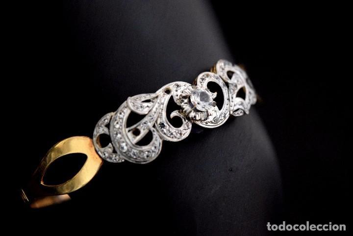 Joyeria: LIQUIDACION, Brazalete estilo modernista de Diamantes 0,20ct VS-H y zafiros en oro 18k - Foto 5 - 120425975