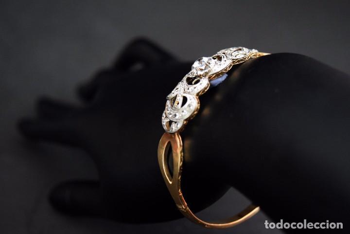 Joyeria: LIQUIDACION, Brazalete estilo modernista de Diamantes 0,20ct VS-H y zafiros en oro 18k - Foto 6 - 120425975