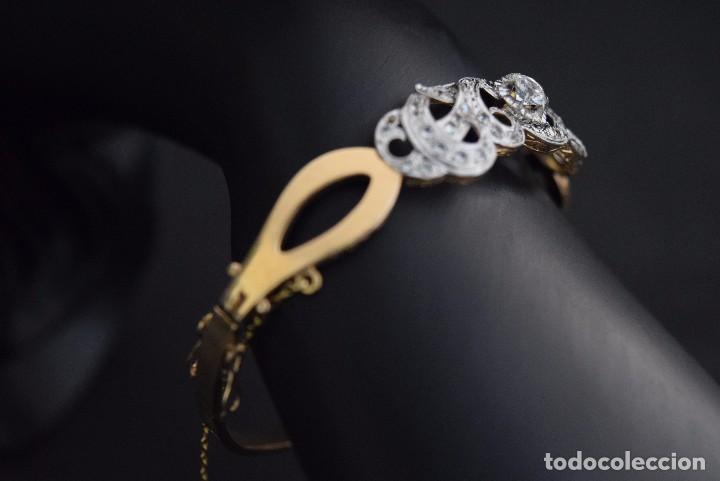 Joyeria: LIQUIDACION, Brazalete estilo modernista de Diamantes 0,20ct VS-H y zafiros en oro 18k - Foto 7 - 120425975