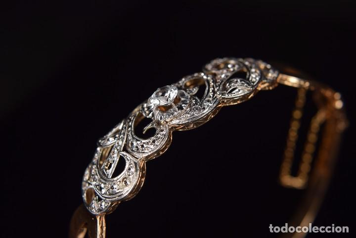 Joyeria: LIQUIDACION, Brazalete estilo modernista de Diamantes 0,20ct VS-H y zafiros en oro 18k - Foto 8 - 120425975