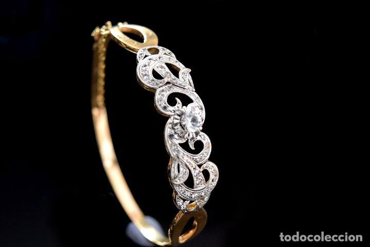 Joyeria: LIQUIDACION, Brazalete estilo modernista de Diamantes 0,20ct VS-H y zafiros en oro 18k - Foto 9 - 120425975