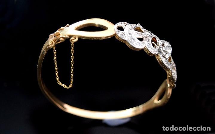 Joyeria: LIQUIDACION, Brazalete estilo modernista de Diamantes 0,20ct VS-H y zafiros en oro 18k - Foto 10 - 120425975
