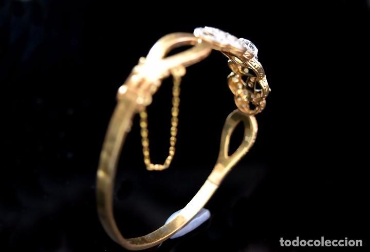 Joyeria: LIQUIDACION, Brazalete estilo modernista de Diamantes 0,20ct VS-H y zafiros en oro 18k - Foto 11 - 120425975