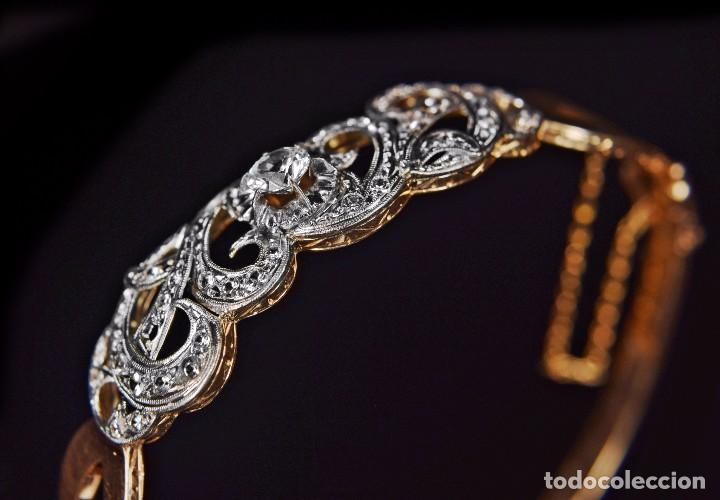 Joyeria: LIQUIDACION, Brazalete estilo modernista de Diamantes 0,20ct VS-H y zafiros en oro 18k - Foto 14 - 120425975