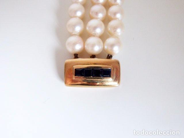 Joyeria: Pulsera Vintage tres hilos de perlas ,oro y zafiros - Foto 3 - 89654956