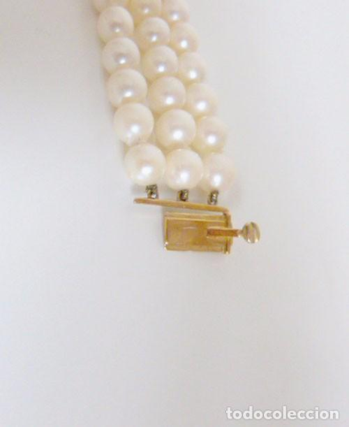 Joyeria: Pulsera Vintage tres hilos de perlas ,oro y zafiros - Foto 5 - 89654956