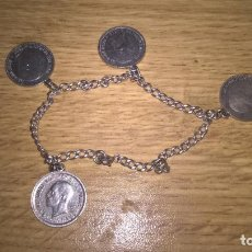 Joyeria - Pulsera antigua de plata. Monedas de 50 céntimos de plata - 89659480