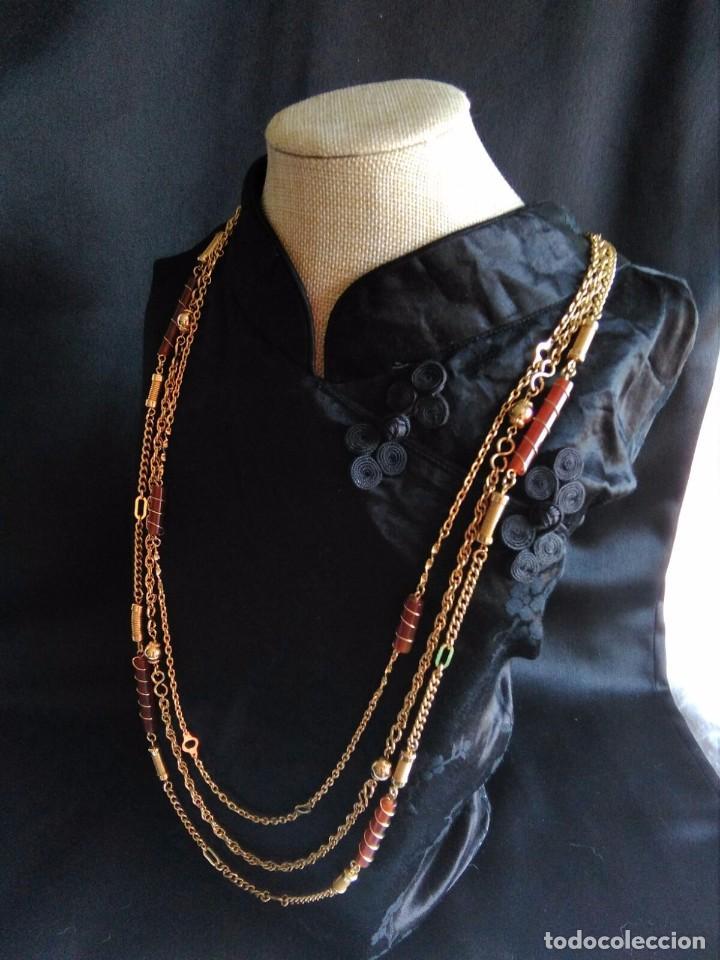 Joyeria: Collar vintage de cadenas en dorado con cilindros de lucite años 70 80 - Foto 2 - 89751804